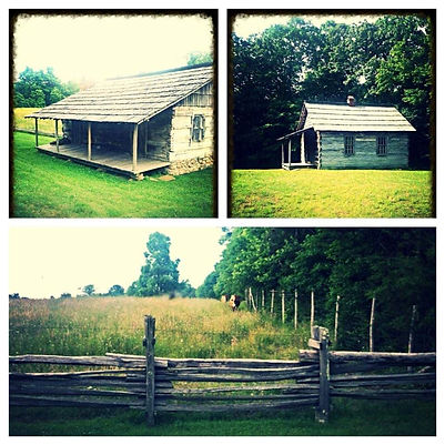 Cabins and field at Hensley Settlement