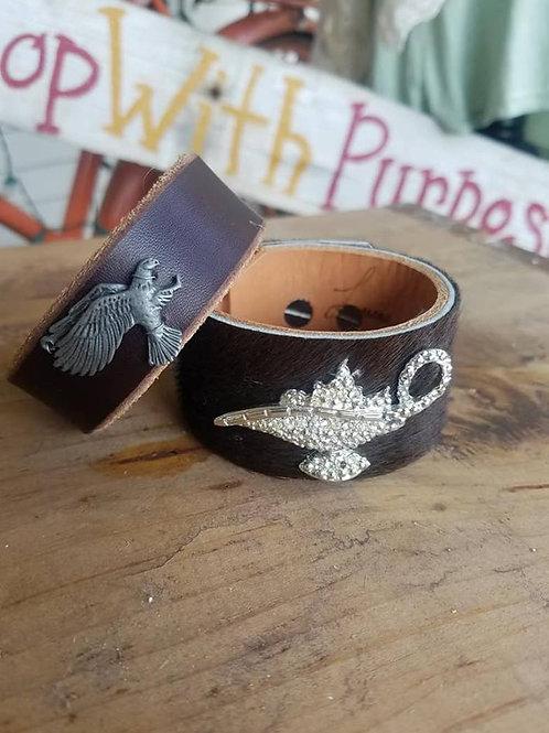 Handmade leather cuffs