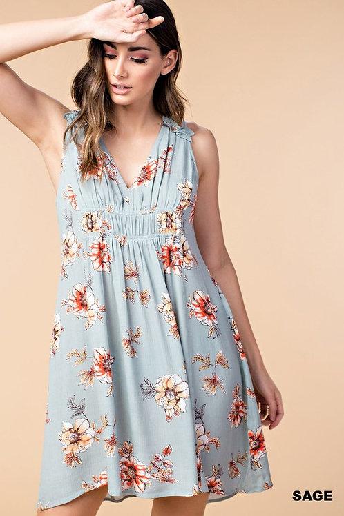 Sage floral top/dress