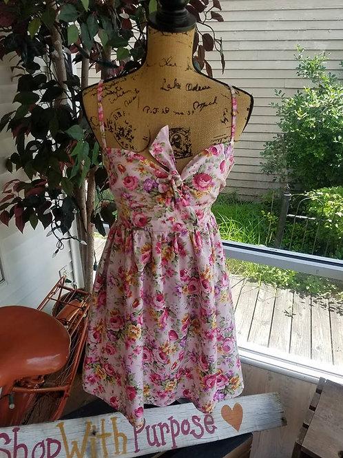Pink floral peek-a boo dress