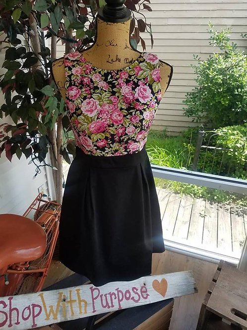 Black & Floral fitted dress