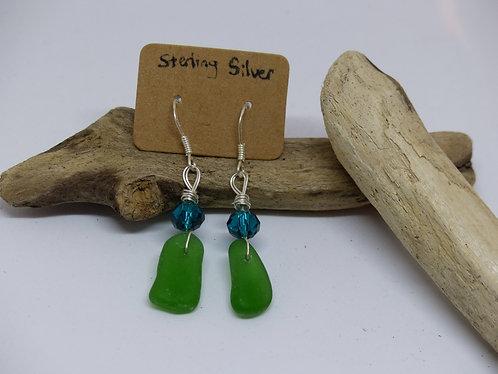 Beautiful Sterling Silver Green Sea Glass Earings