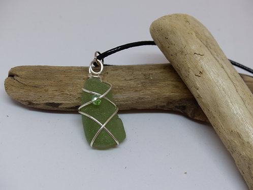 Beautiful  Green Sea Glass Pendant