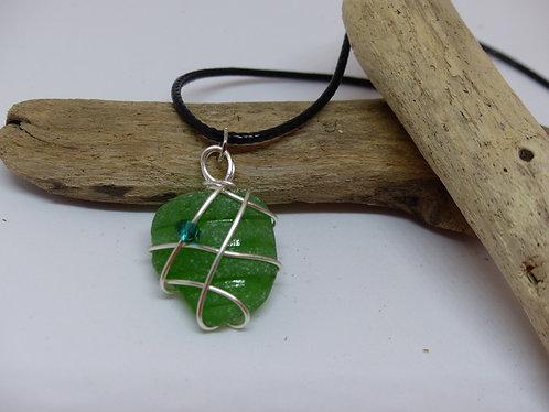 Beautiful Dark Green Sea Glass Pendant