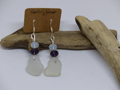 Beautiful Sterling Silver White Sea Glass Earings