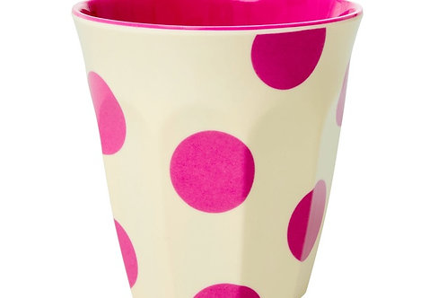 כוס מלמין טוטון בהדפס פוקסיה רקע שמנת