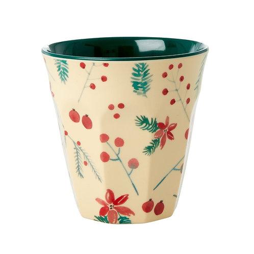 כוס מלמין טוטון בהדפס כריסמס - פרח חלבלוב