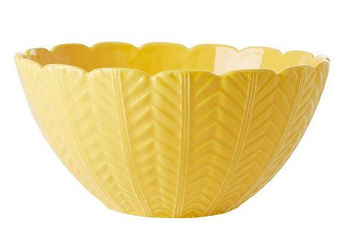 קערת סלט קרמיקה צהובה עם עיטורים