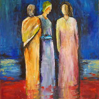 ''WOMEN'S TALK'' oil on canvas 60x80 cm