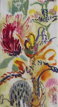 Hayfield in June oil on paper 37 x 20cm.