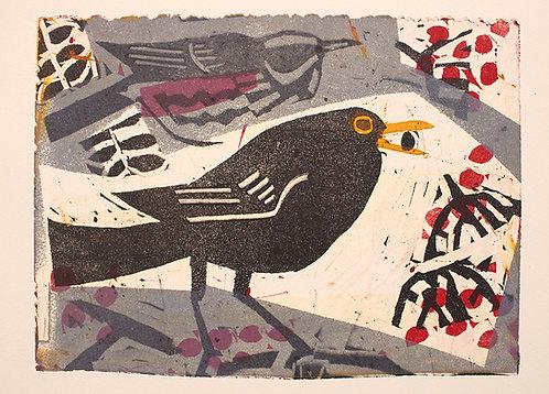 Blackbird and Redwing on Rowan