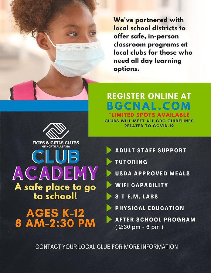 BGCNAL - Club Academy Flyer Club Contact