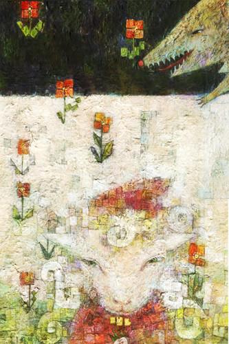 細井世思子「赤ずきん」36.4×25.7cm 鉛筆、アクリル