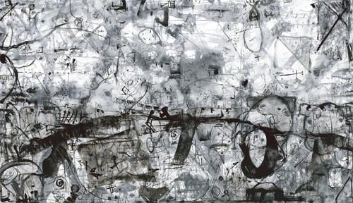 風のおしゃべり 79×135cm 和紙、墨 @天神下はぐろ洞