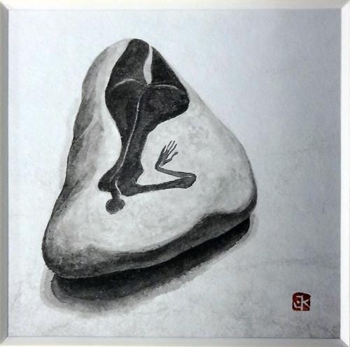 鈴木敬三「石に描かれて裸婦」10×10cm