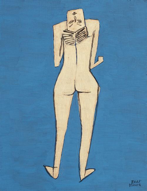 「-秋津町の舞踏家-」-F6-2015年-油彩- 葉書サイズ