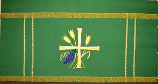 Altar frontal green harvest ecclesiastical design church textiles