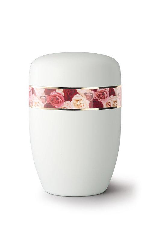 Multi-Coloured Rose Bordered Urn