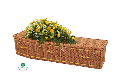 Somerset Willow traditional willow coffin with yellow flowers