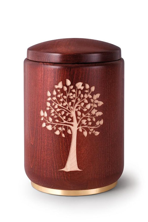 Engraved Wooden Urn