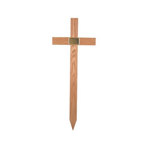 oak cross grave marker