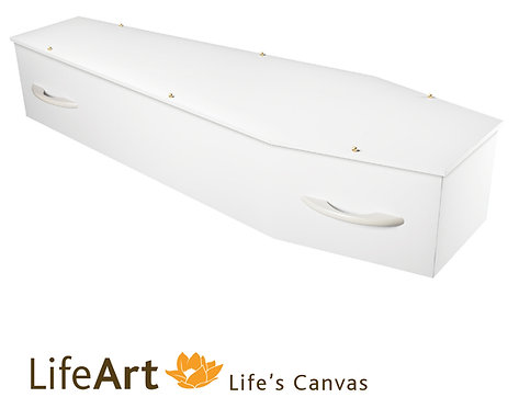plain white LifeArt coffin