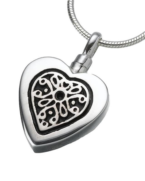 Sterling Silver Heart Pendant with Filigree Insert