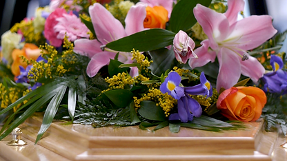 Funeral Flowers on a Coffin