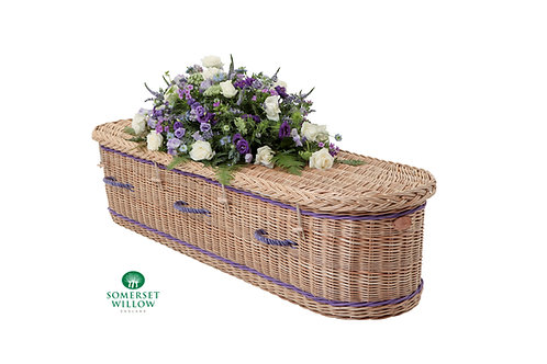 curved end willow coffin with flowers