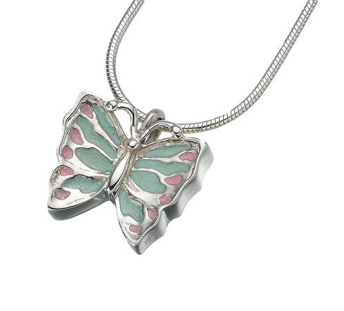 Sterling Silver Butterfly Pendant with Enamelled Wings