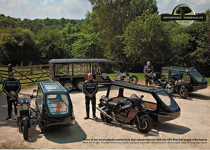Motorcycle hearse and funeral vehicles