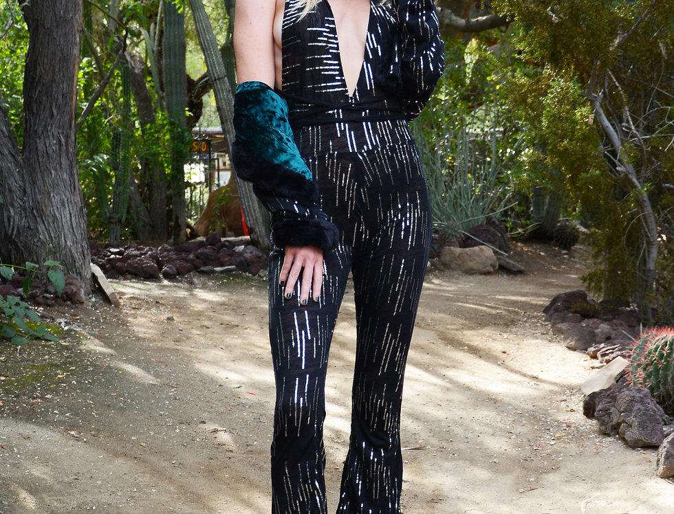 Black Cotton & Sequin Jumpsuit