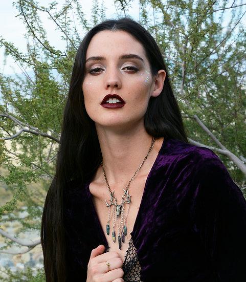 Deer Skull Charm & Crystals Necklace