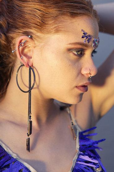 Gunmetal & Hanging Crystal Earrings