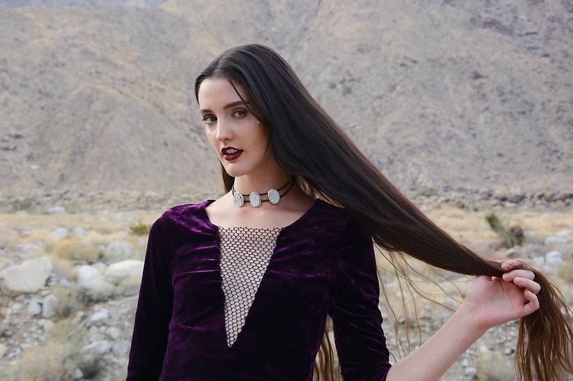 Purple Crushed Velvet & Mesh Top