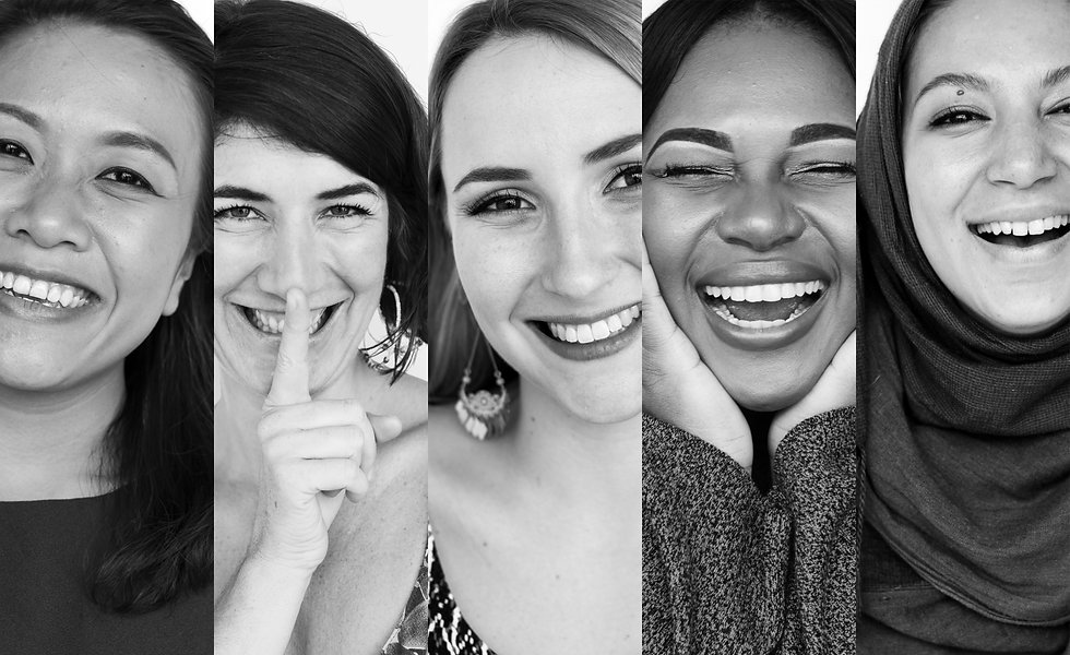 Diversity women smiling happiness expres