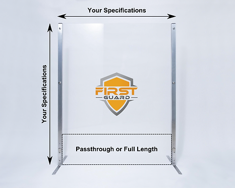 Countertop Plexiglass Sneeze Guard - Custom Size