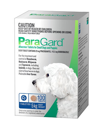 PARAGARD SMALL DOG 100 pack UP TO 5KG