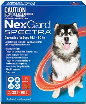 NEXGARD SPECTRA RED 6PACK 30.1-60KG