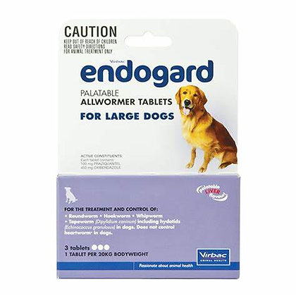 ENDOGARD DOG TABS 20KG 250pack