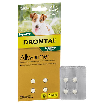 DRONTAL TABS DOG 3KG SMALL 4 PACK