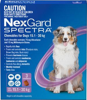 NEXGARD SPECTRA PURPLE 3PACK 15.1-30KG