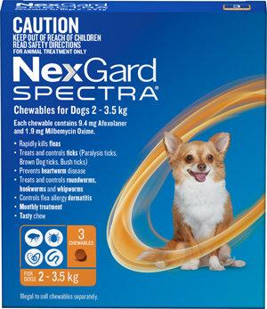 NEXGARD SPECTRA ORANGE 3PACK 2-3.5KG