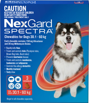 NEXGARD SPECTRA RED 3PACK 30.1-60KG