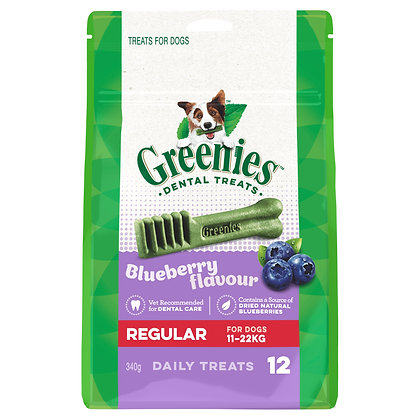 GREENIES BLUEBERRY REGULAR 340G 12 PEICES