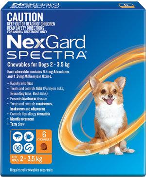 NEXGARD SPECTRA ORANGE 6PACK 2-3.5KG