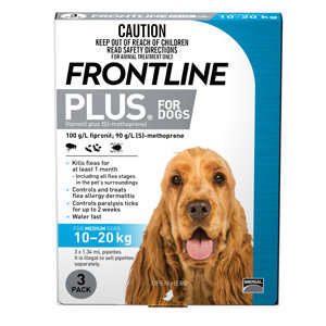 FRONTLINE PLUS DOG BLUE 3pack 10-20KG