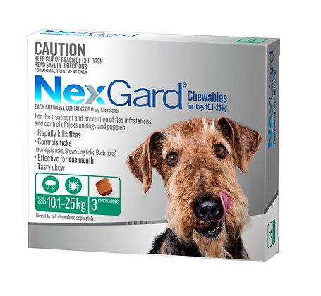 NEXGARD CHEWS LARGE GREEN 3PACK  10.1-25KG