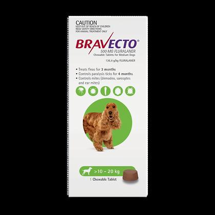 BRAVECTO 3-MONTH MEDIUM GREEN 10-20KG CHEW 500MG