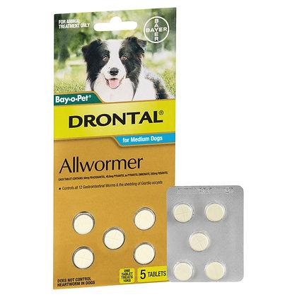 DRONTAL DOG TABLETS 10KG MED  5 PACK